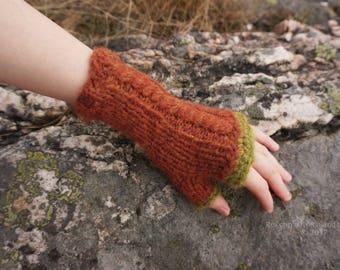 Rust Red Knitted Fingerless Gloves