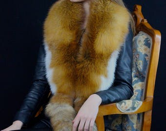 Gold Fox Fur Collar with Real Fox Tails