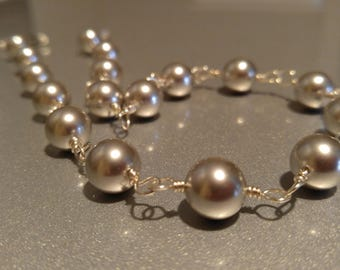 Handmade sterling silver Pearl choker necklace. Swarovski light gray 10mm Pearls wrapped in Sterling Silver .999 silver