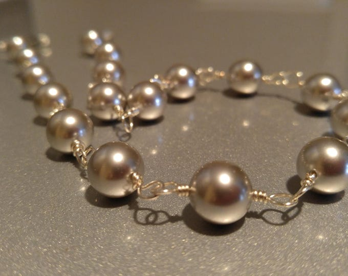 Handmade sterling silver, Pearl choker necklace.  Light gray 10mm Pearls wrapped in Sterling Silver .999 silver Handmade