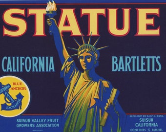 Statue Pears Crate Label