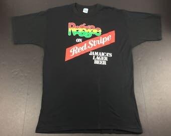 Vintage 80s Red Stripe jamaican beer t-shirt mens XL