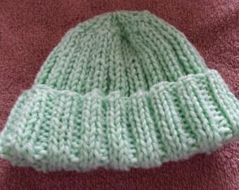 baby seafoam green winter hat