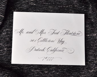 "Custom Wedding Envelope Calligraphy Printing - ""Rose"" Style"