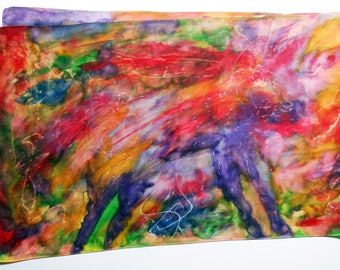 Silk scarf. Hand painted silk scarf. Joy. Gift for woman. Powerful colors. Red, green, violet, gold