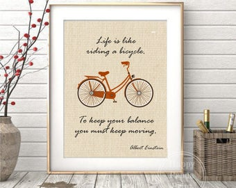 Bicycle Wall Art Albert Einstein Quote Life is Like Riding Bicycle Wall Decor Vintage Bicycle Einstein Bike Art Print Vintage Wall Art Print
