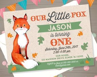 FOX Birthday Invitation Woodland Fox Invitation Woodland Animals Invitation Little Fox Invite Fox 1st Birthday Fall Birthday Party Rustic