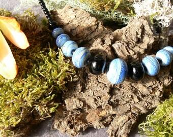 Glass, blue Lapis Lazuli Bead Necklace