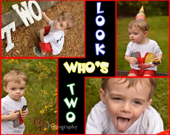Look Who's Two Birthday Announcement - Digital Print