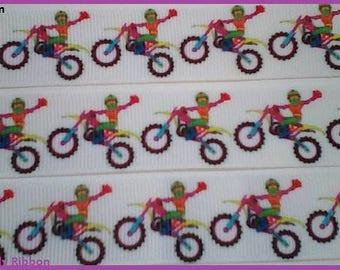 1 x Metre, MOTORCYCLES, 7/8, Ribbon, 22mm,  Dirt Bike, Motocross, Grosgrain, Hair