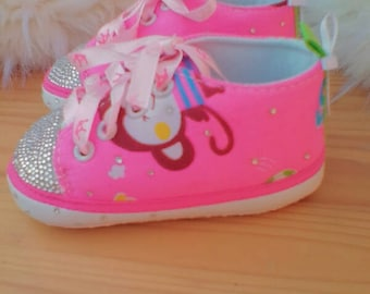 Pink with monkey print crystal baby shoes