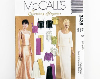 McCall's Pattern 3436, Formal Separates, Evening Tops, Slim Skirt, Flared Skirt, Stole, Sizes 12, 14, 16, Wedding Party, Mother of the Bride