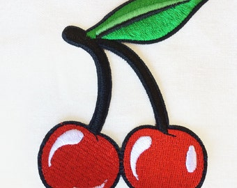 1x large cherries pinup Rockabilly black white red green Iron On Embroidered Patch Applique