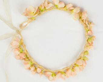 Boho Peach and Ivory Small Silk Flower Crown Wedding Hairpiece Gold Glitter wrapped finish