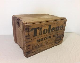 1930s Tiolene Motor Oil Crate