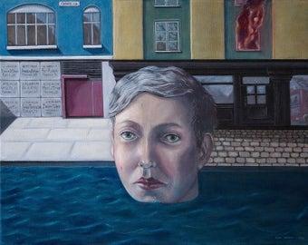 ORIGINAL acrylic painting on canvas and Fine art Italian London artist Figurative Surreal Symbolism Colourful art . 'Chaos Road'