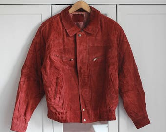 Leather Suede Jacket Red Vintage Pattern 90s 80s Simple Hipster Retro Look 100% Genuine Unisex Oldschool Oversized Extra Large Size