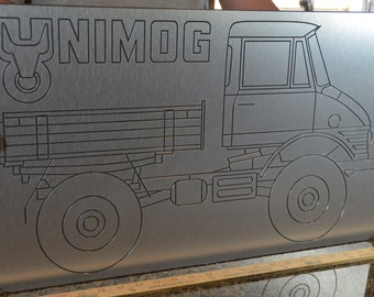 Brushed aluminum Unimog wall art / sign