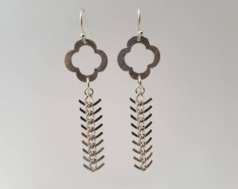 Silver Clover with Herringbone Earrings
