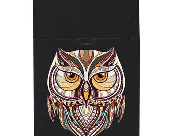 Handmade custom plastic cigarette case box with personalized stylish pattern any text message chic logo owl animals elegant vintage design