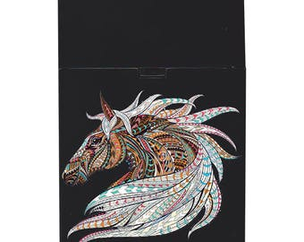 Handmade custom plastic cigarette case box with personalized stylish pattern any text message chic logo horse animals elegant vintage design