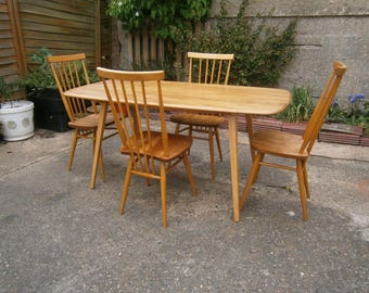 Vintage retro mid century original blonde Ercol 382 plank table & 4 608 chairs