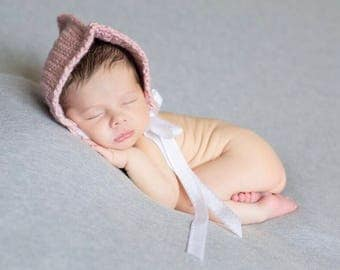 Salmon colored newborn hat photography prop