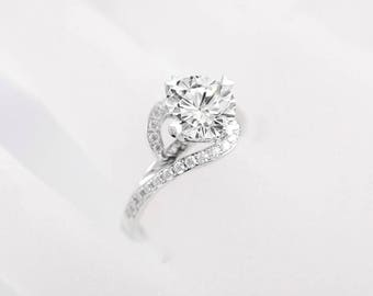 Unique Forever One Moissanite Engagement Ring Forever Brilliant Wedding Ring White Gold Bridal Set Curved Halo Moissanite Ring Anniversary