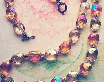 Sparkling crystal necklace apricot and pale yellow