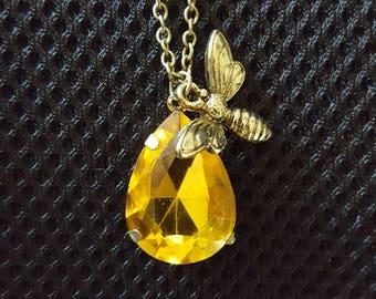 Honey Drop Bee Pendant, Honey Bee Necklace, Bee Pendant