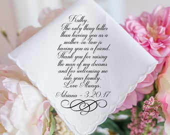 Wedding Handkerchief, Mother in Law Handkerchief, Mother of the Groom Handkerchief, Printed Hankie, Parents Thank you gift, hankerchief, 36