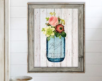 SALE-Flowers In Vintage Mason Jar On Barn Wood-Digital Print-Wall Art-Digital Designs-Home Decor-Gallery Wall-Modern Farmhouse Wall Decor