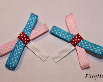 Bright Blue, Light Pink, Red Hair Bow With White Alligator Clip (Comes with 2)