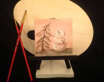 "Acrylic painting ""Snowman and a Fir"" miniature"