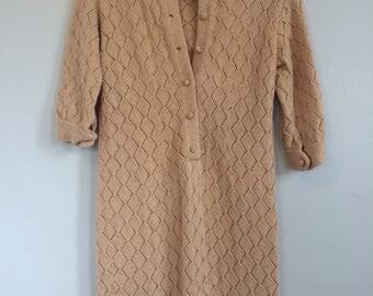 Handmade Knit Diamond Pattern Wiggle Dress