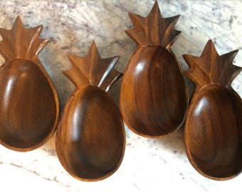 Hand Carved Wooden Pineapple Bowls