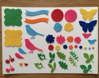 Die cut felt shapes birds, butterflies and flowers