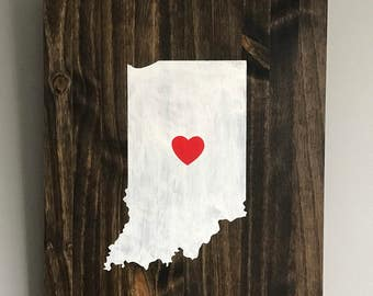 State of Indiana wood wall decor.