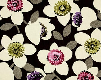 Cachet Large Floral Pink on Brown by Michele D'Amore for Bernatex fabric