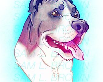 Pitbull Portrait Print