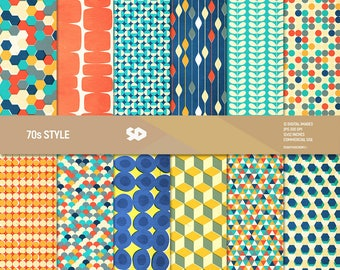 Retro digital paper pack, mid-century scrapbook pages, scrapbooking patterns, 70, 70s, 1970, geometric ,vintage background. COMMERCIAL USE.