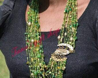 Green maasai African necklace