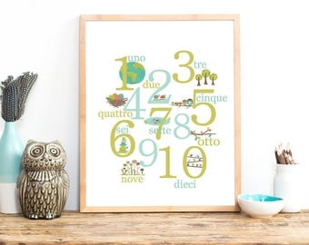 Italian Number Wall Art Print, Kid's Counting Art, 11x14, Nursery Wall Art, Woodland Nursery, Gender Neutral Nursery