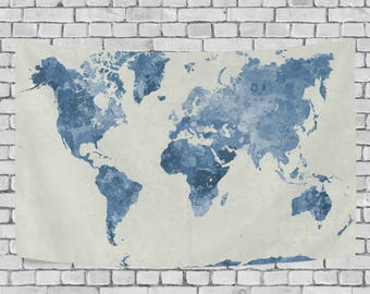 Blue Watercolor World Map Tapestry Abstract Splatter Painting Wall Hanging Art for Living Room Bedroom Dorm Decor