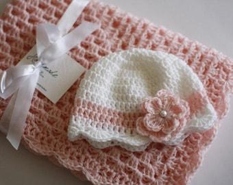 Crochet Baby Blanket Afghan and Hat Pink White Christening Baptism Granny Square Handmade Crochet Blanket Baby Girl Set Shower Gift