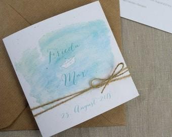 "Wedding invitation ""Ahoy"" incl. reply card"