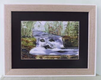Loch Avich Waterfall Scotland, print from original watercolour