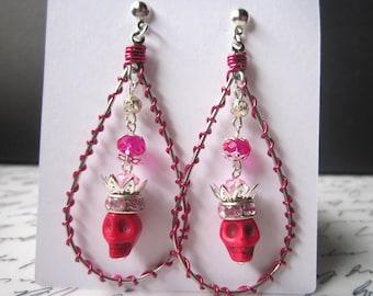 Sugar Skull earrings (Pink/Teardrop earrings)