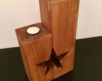 Large pair of wooden handmade candle holders, free standing with star cut out, ideal gift