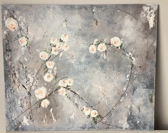 Vintage roses original artwork canvas painting Floral art grey flowers gift for mum sister friend unique artist Shabby Chic white pink